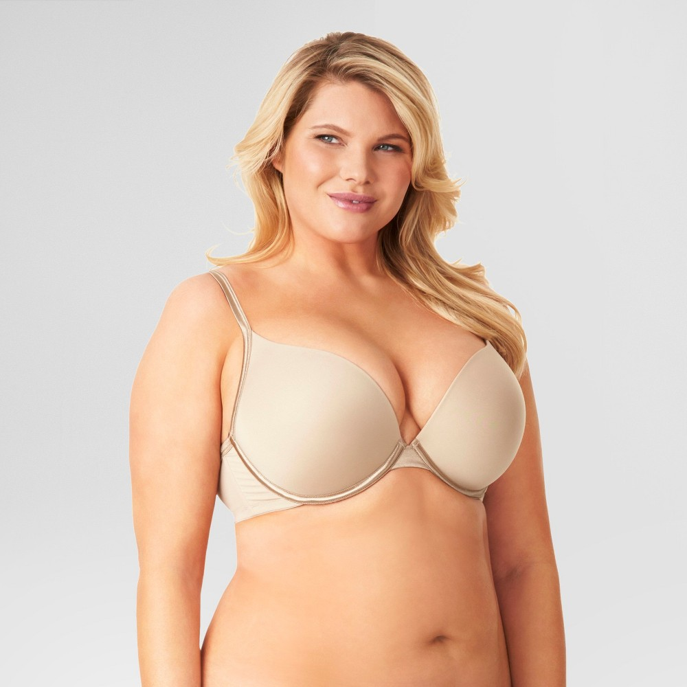 Kissed by Olga Womens Plunge with Lift Bra Toasted Almond 44C