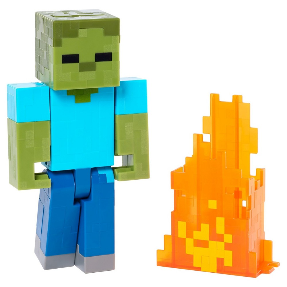 Minecraft Zombie with Pop Out Flames Figure - Series 2