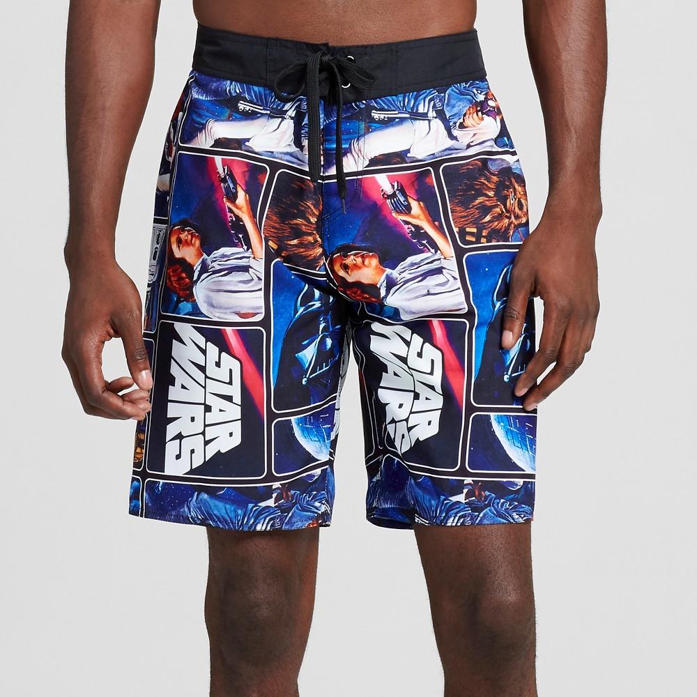 Mens Collage Board Shorts-Star Wars Black Xxl