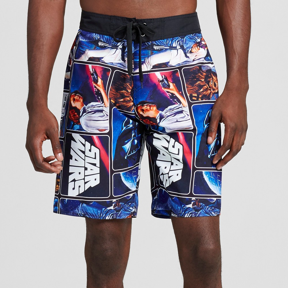 Mens Collage Board Shorts-Star Wars Black M