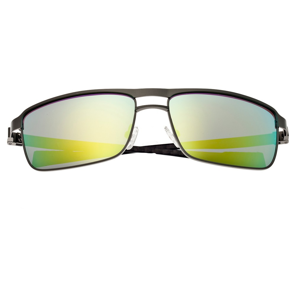 Breed Mens Taurus Polorized Sunglasses with Titanium Frame and Carbon Fiber Arms - Silver/Yellow, Icy Steel