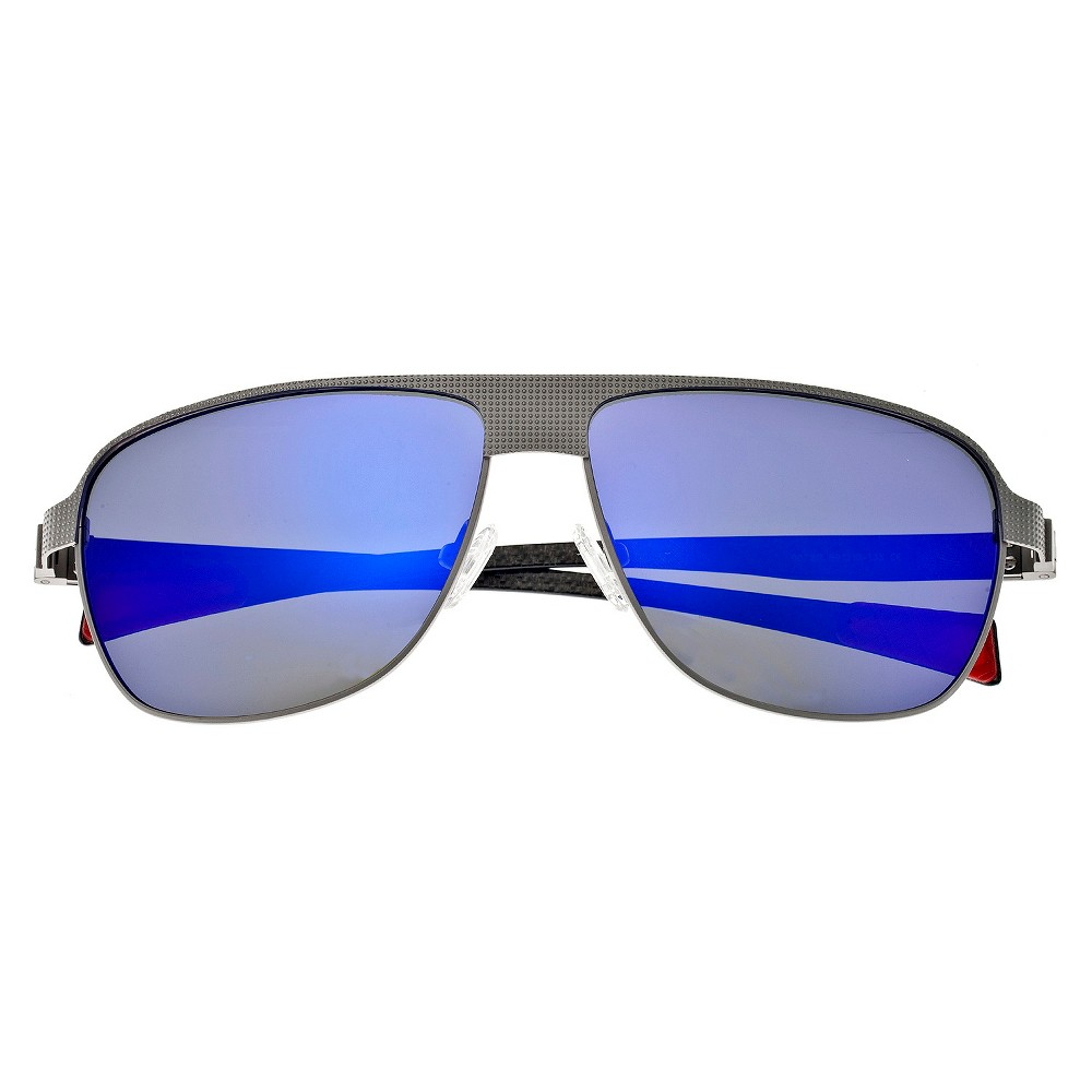 Breed Mens Hardwell Polarized Sunglasses with Titanium Frame and Carbon Fiber Arms - Silver/Purple, Medium Silver