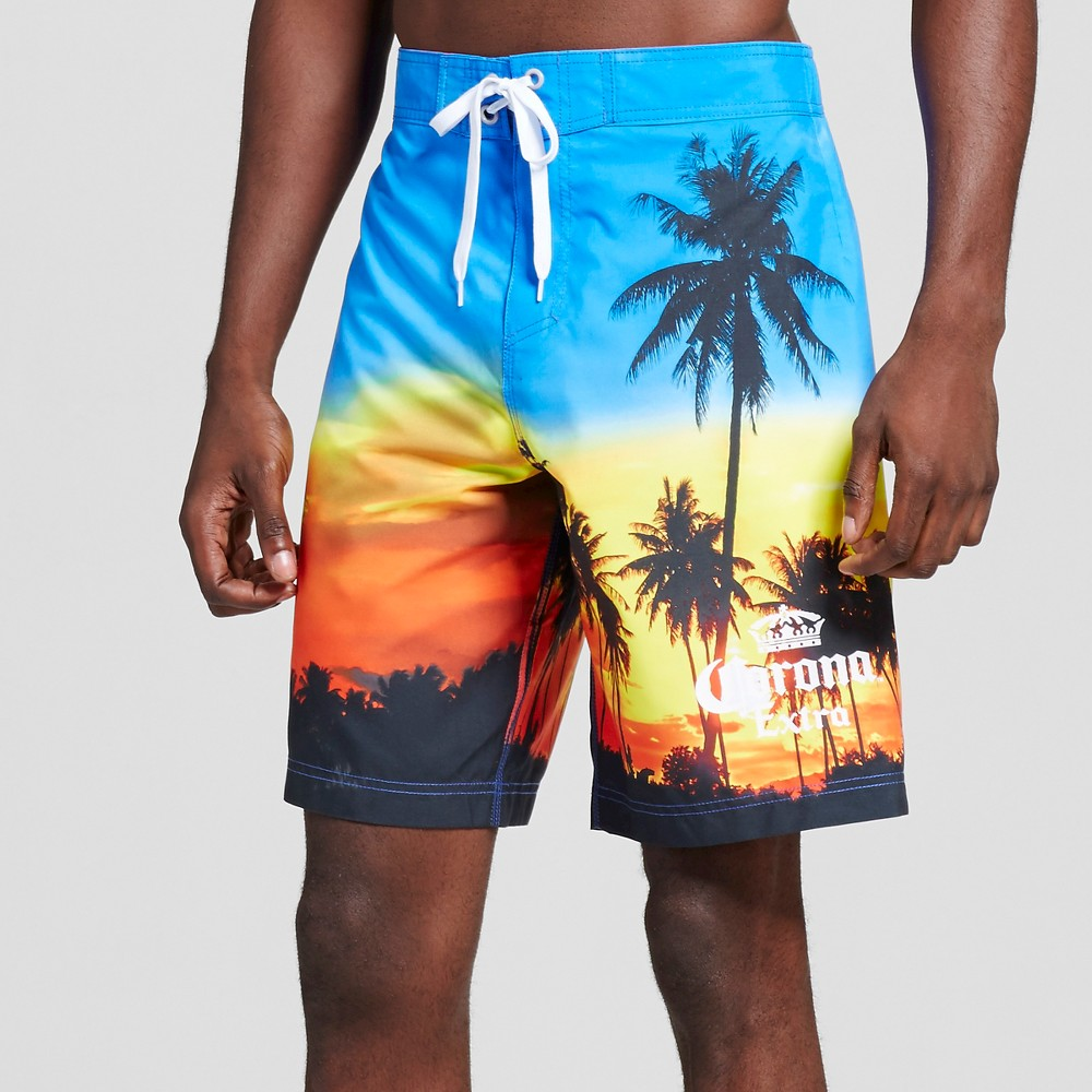 Mens Palm Trees Sunset Board Shorts Blue L - Corona