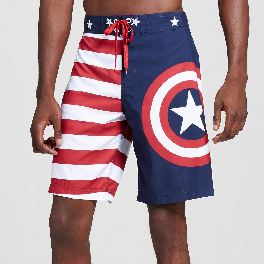 Mens Captain America Logo Americana Board Shorts Red L - Marvel