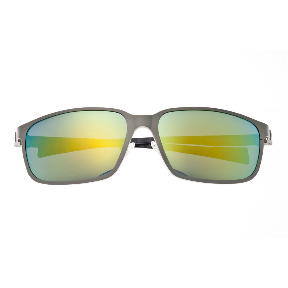 Breed Mens Neptune Polarized Sunglasses with Titanium Frame and Carbon Fiber Arms - Silver/Gold, Medium Silver