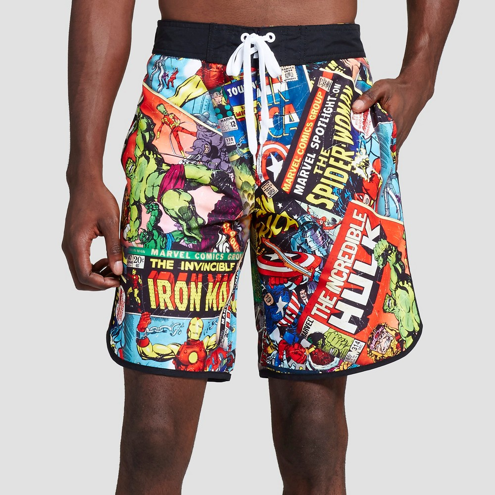 Mens Marvel Comic Art Board Shorts Multi -Colored XL- Marvel, Size: XL, Multi-Colored