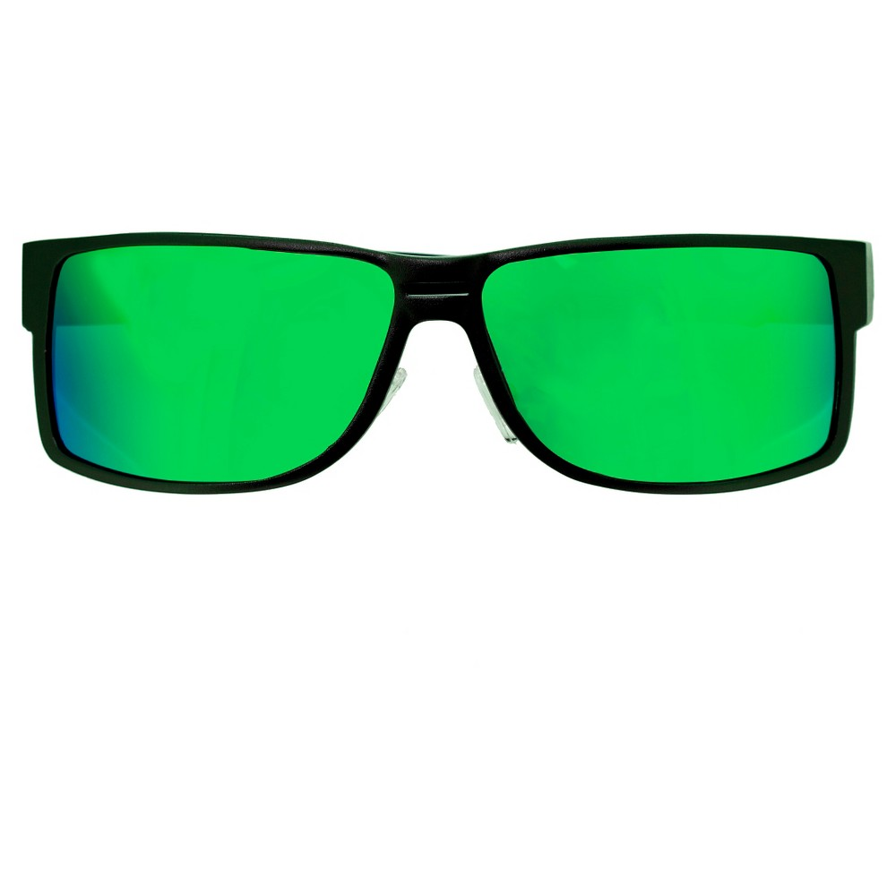 Breed Mens Stratus Polarized Sunglasses with Aluminum Frame and Arms - Silver/Green, Medium Silver