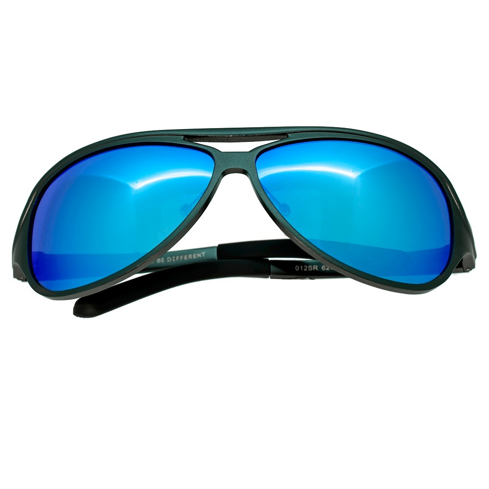 Breed Mens Langston Polarized Sunglasses with Aluminum Frame and Arms - Gunmetal/Blue, Medium Silver