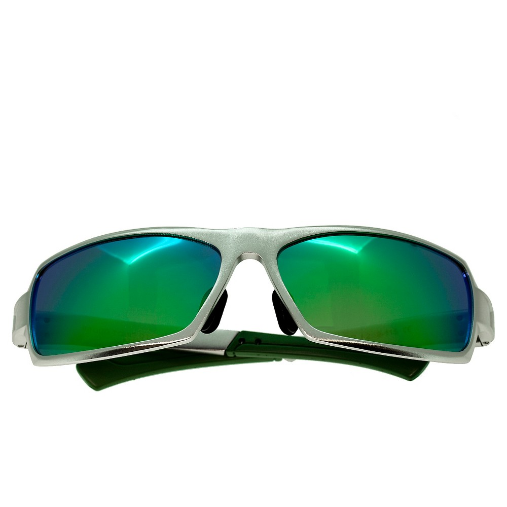 Breed Mens Cosmos Polarized Sunglasses with Aluminum Frame and Arms - Silver/Green, Medium Silver