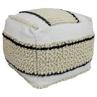 Black & White Pouf - Threshold. opens in a new tab.