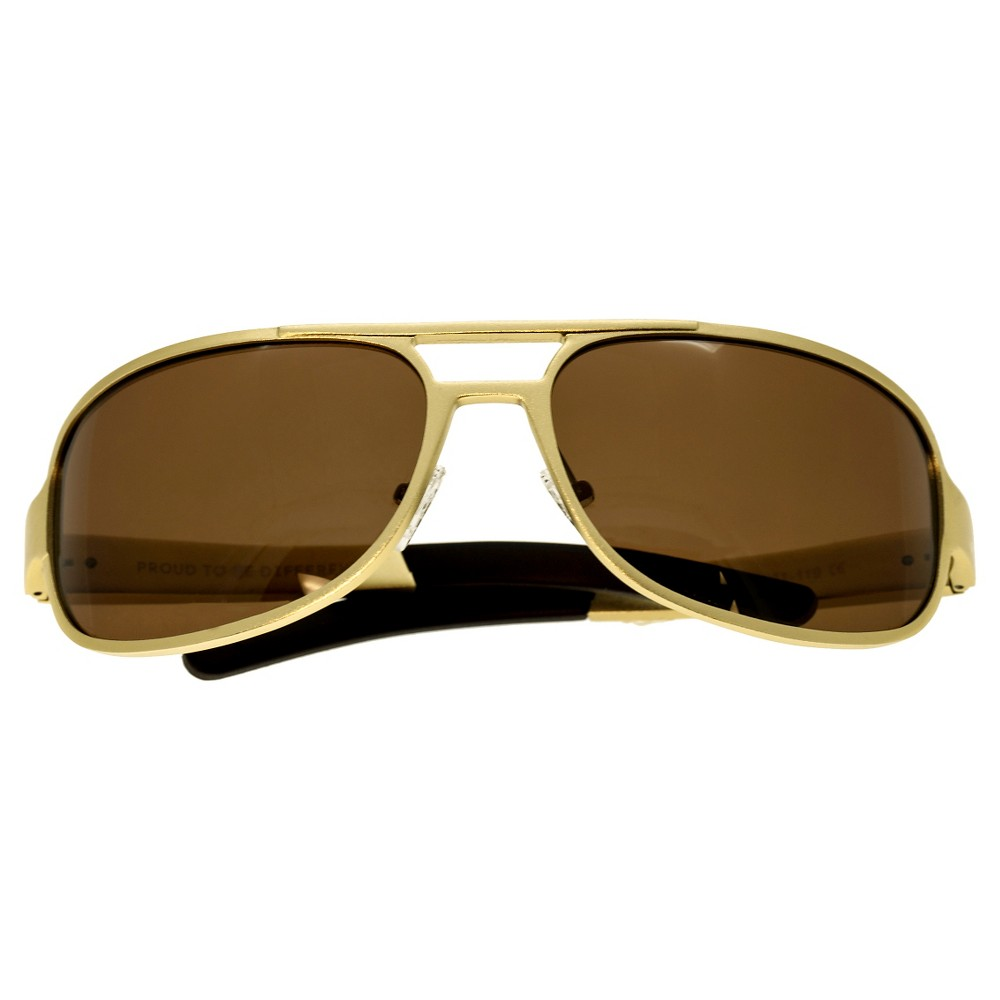 Breed Mens Xander Polarized Sunglasses with Aluminum Frame and Arms - Gold/Brown