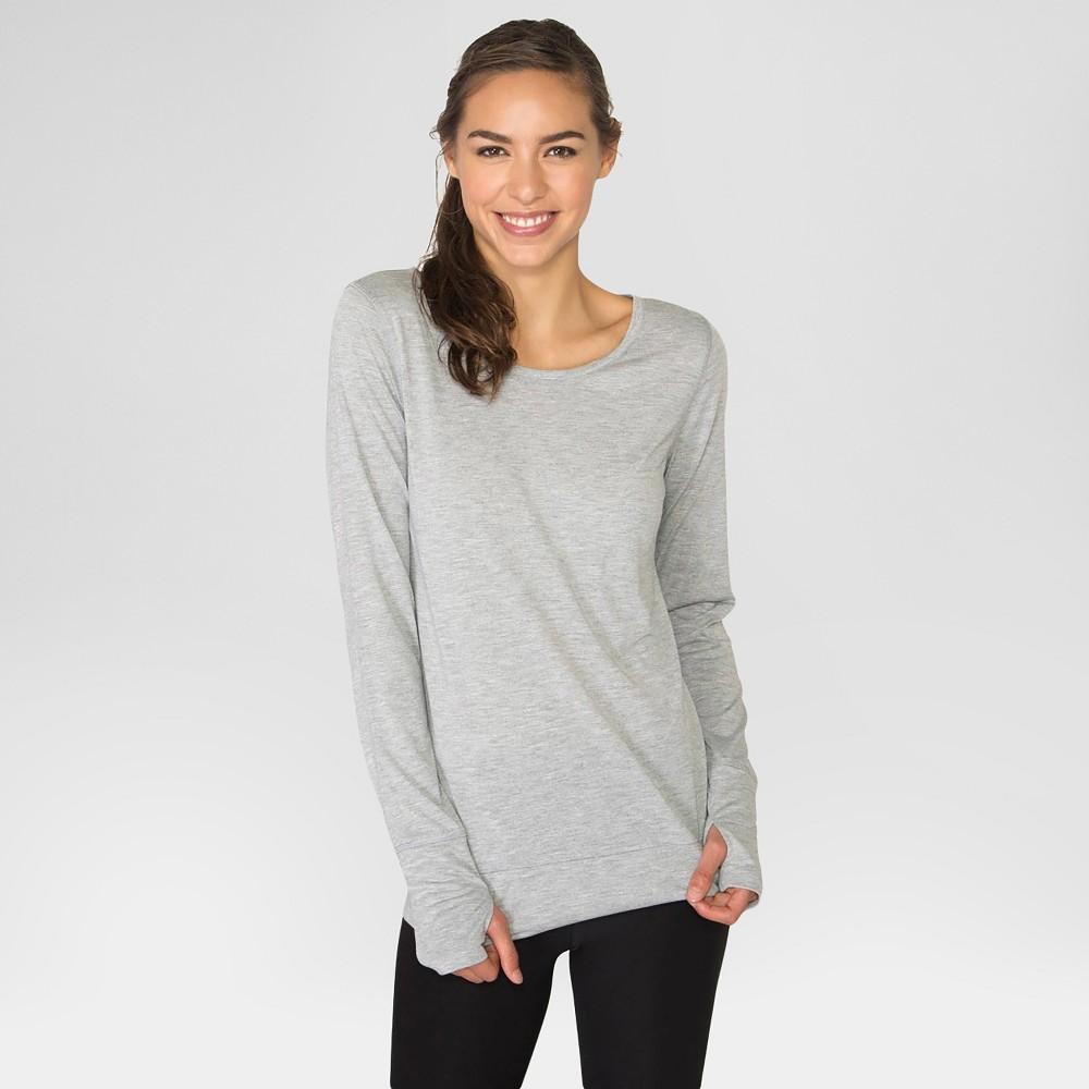 Women's Long Sleeved Open Back T-Shirt Light Gray XL - Rbx