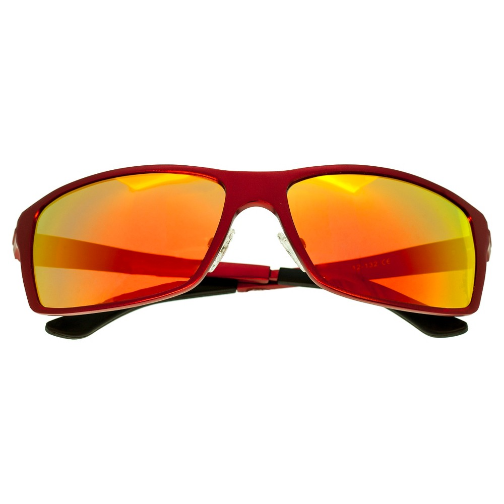 Breed Mens Kaskade Polarized Sunglasses with Aluminum Frame and Arms - Red/Yellow