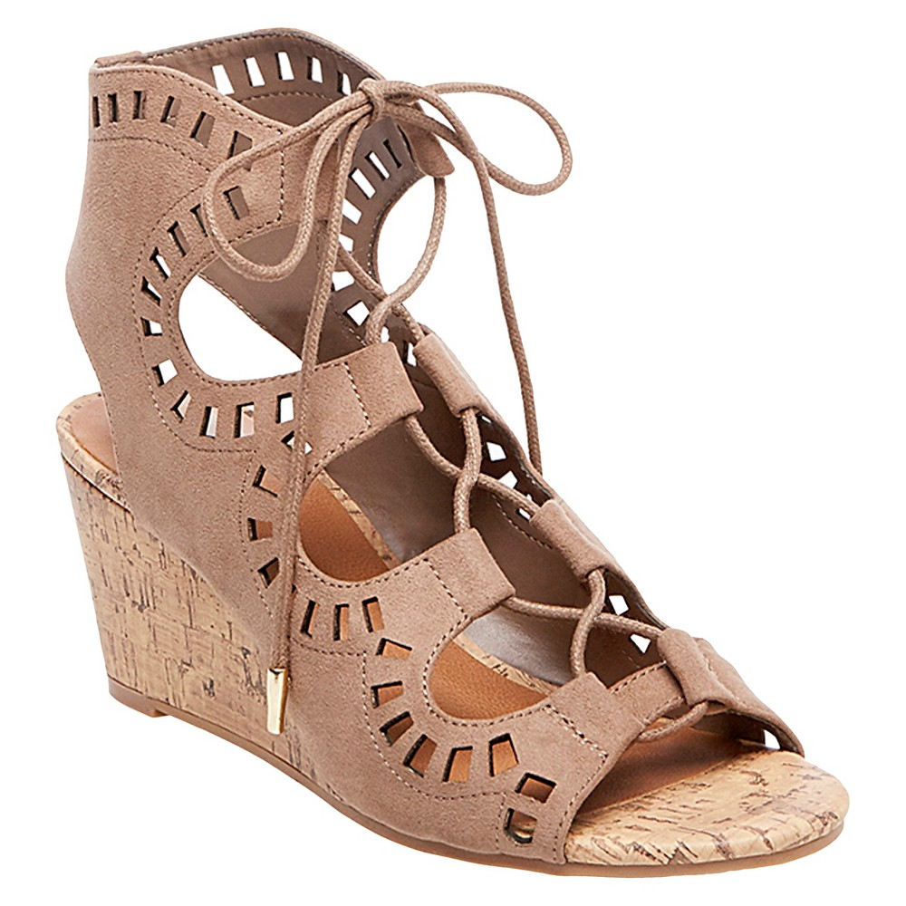Womens dv Marybeth Laser Cut Cork Wedge Gladiator Sandals - Taupe Brown 8
