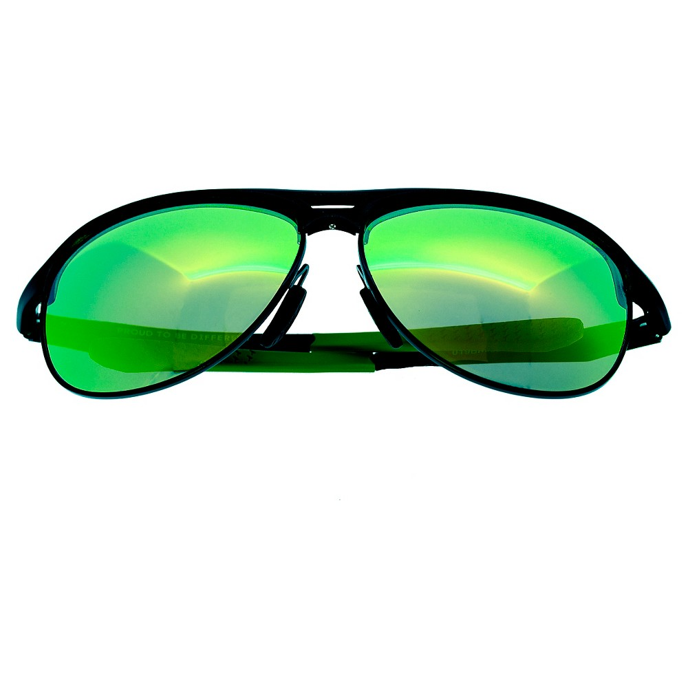 Breed Mens Jupiter Polorized Sunglasses with Aluminum Frame and Arms - Gunmetal (Grey)/Green