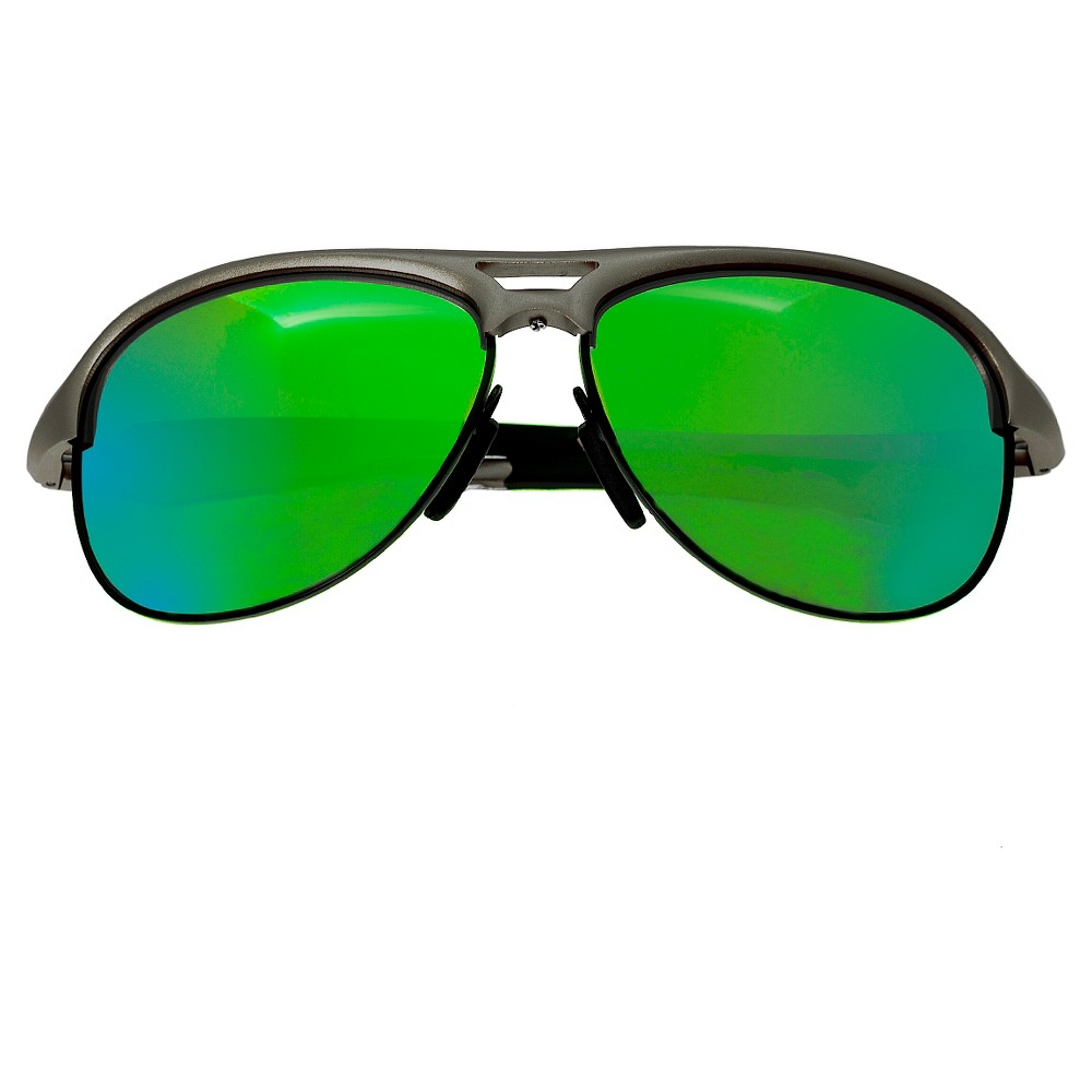 Breed Mens Jupiter Polorized Sunglasses with Aluminum Frame and Arms - Silver/Green, Size: Medium, Medium Silver