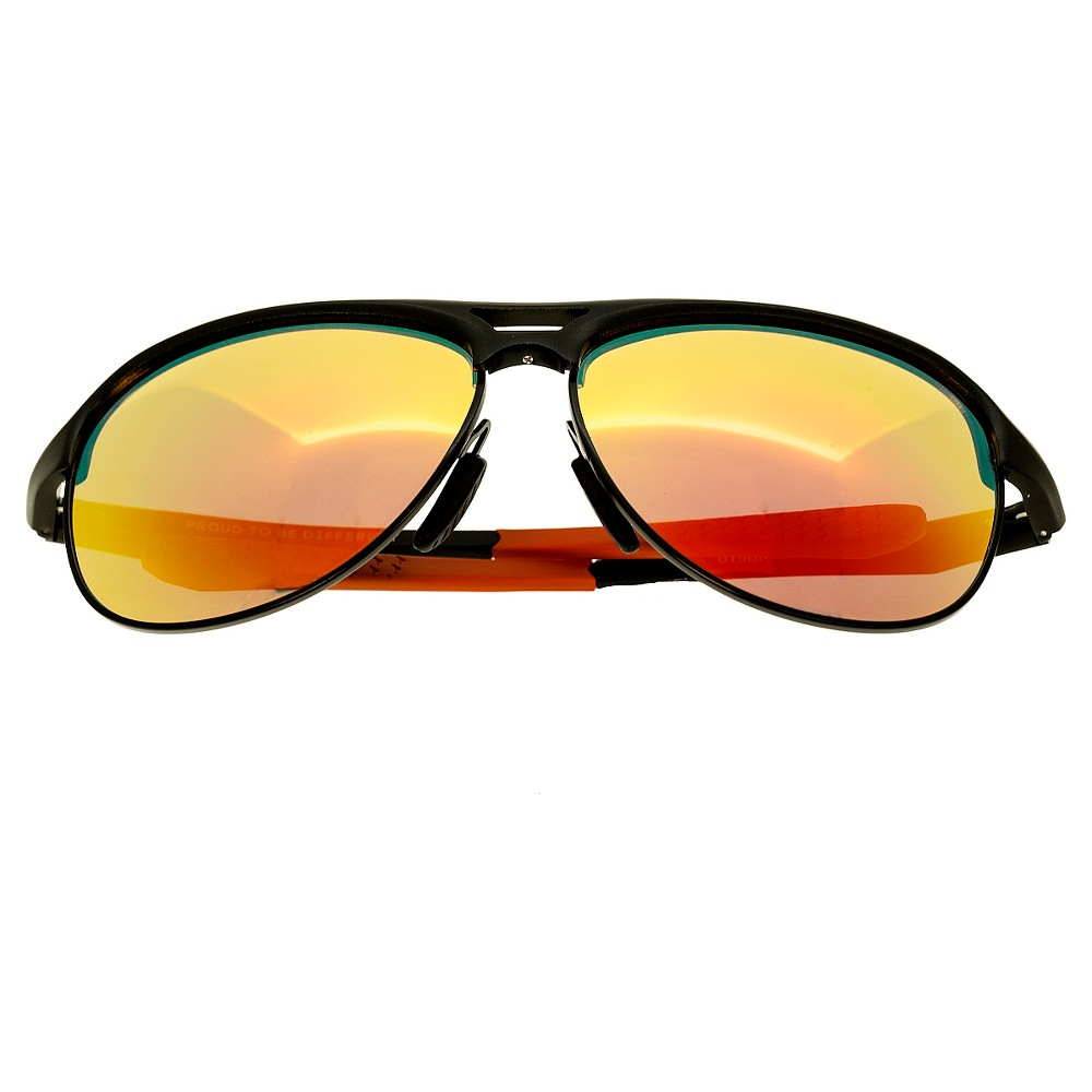 Breed Mens Jupiter Polorized Sunglasses with Aluminum Frame and Arms - Black/Orange
