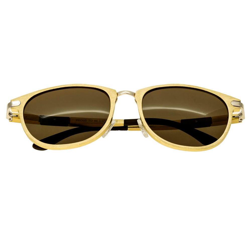 Breed Mens Orion Polorized Sunglasses with Aluminum Frame and Arms - Gold/Brown