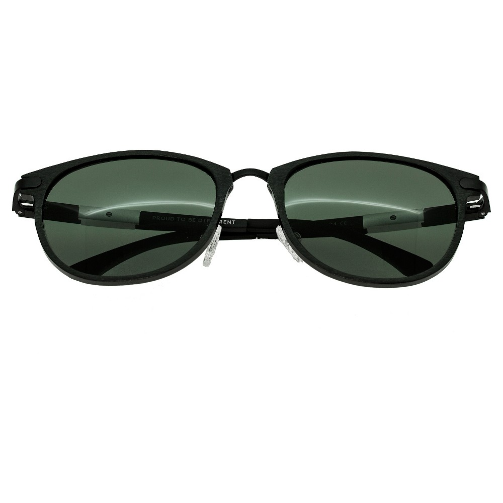 Breed Mens Orion Polorized Sunglasses with Aluminum Frame and Arms - Black/Black