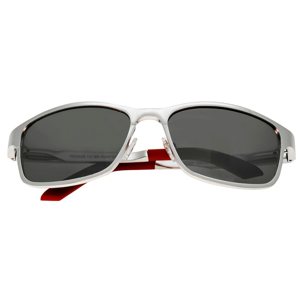 Breed Mens Hydra Polorized Sunglasses with Aluminum Frame and Arms - Silver/Silver, Medium Silver