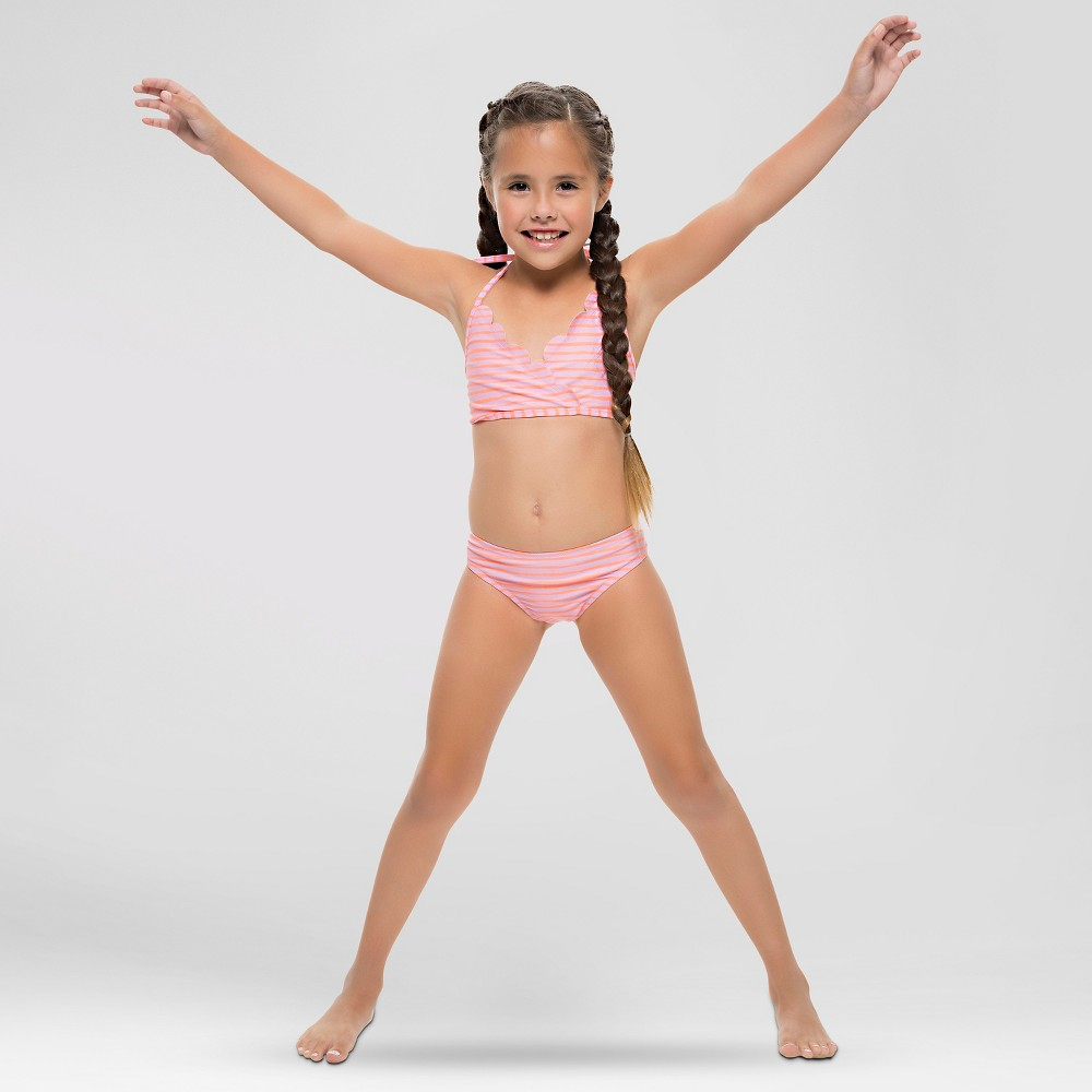 Vanilla Beach Girls Scallop Trim Striped Bikini Pastel - Pink L