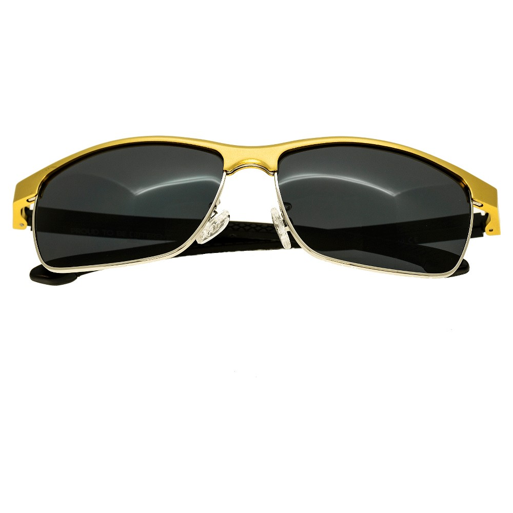 Breed Mens Bode Polarized Sunglasses with Aluminum Frame and Arms - Gold/Black