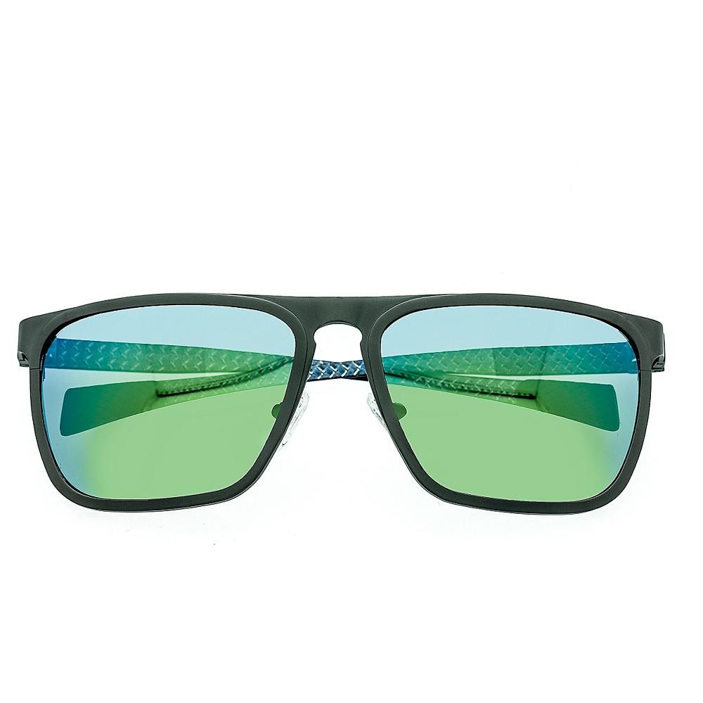 Breed Men's Capricorn Polorized Sunglasses with Titanium Frame and Carbon Fiber Arms - Gunmetal (Grey)/Blue
