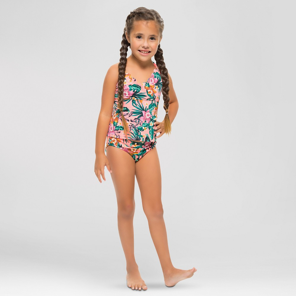 Girls Scallop Trim Tankini Floral Print - Vanilla Beach L, Orange