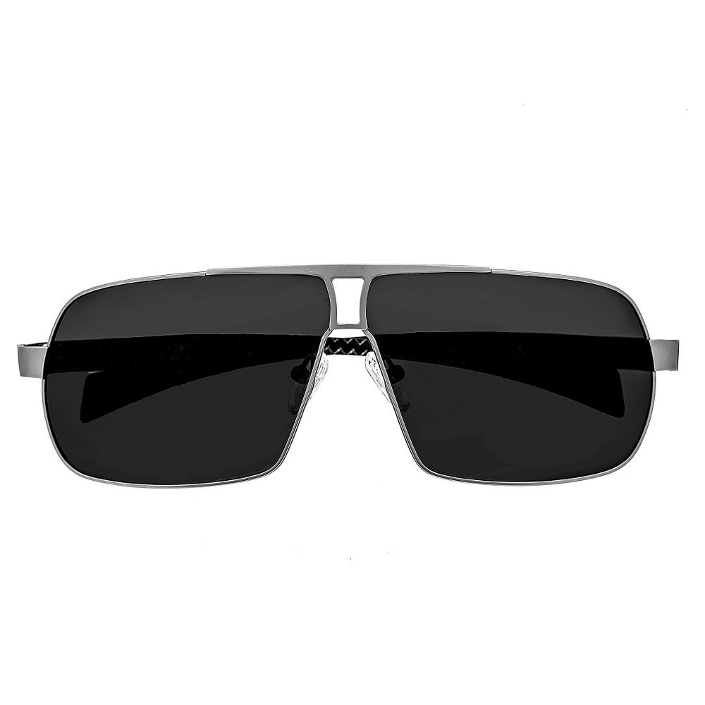Breed Mens Sagittarius Polarized Sunglasses with Titanium Frame and Carbon Fiber Arms - Silver/Black, Medium Silver