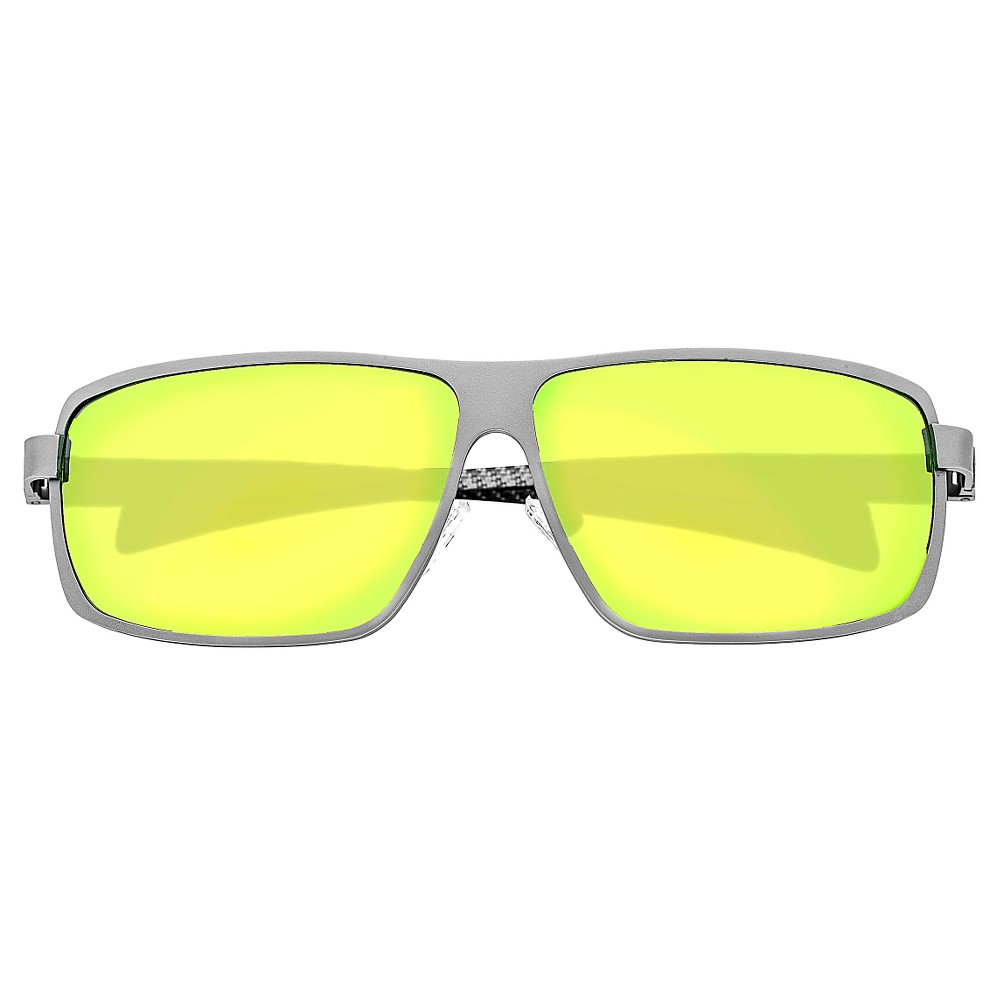 Breed Mens Finlay Polarized Sunglasses with Titanium Frame and Carbon Fiber Arms - Silver/Yellow, Medium Silver