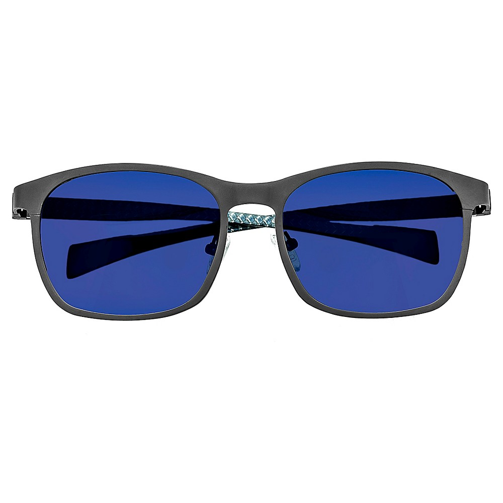 Breed Mens Halley Polarized Sunglasses with Titanium Frame and Carbon Fiber Arms - Gunmetal (Grey)/Blue