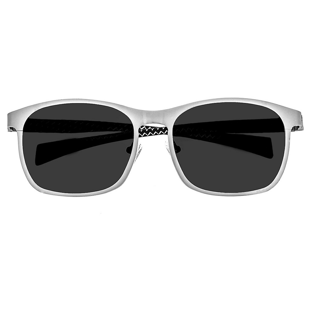 Breed Mens Halley Polarized Sunglasses with Titanium Frame and Carbon Fiber Arms - Silver/Black, Medium Silver
