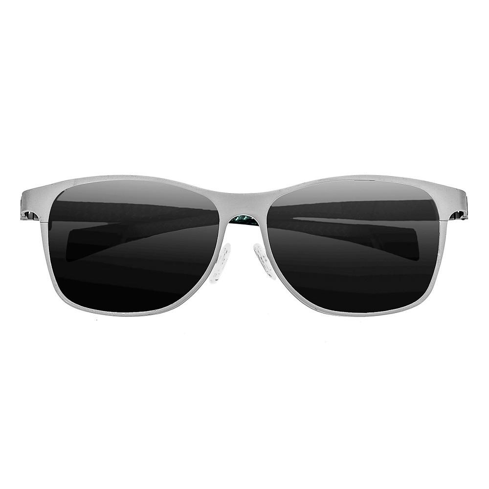 Breed Mens Templar Polarized Sunglasses with Titanium Frame and Carbon Fiber Arms - Silver/Black, Medium Silver