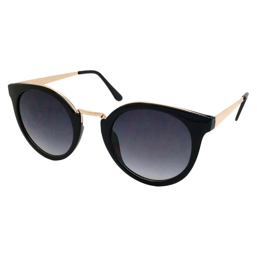 Womens Round Sunglasses with metal detail - black