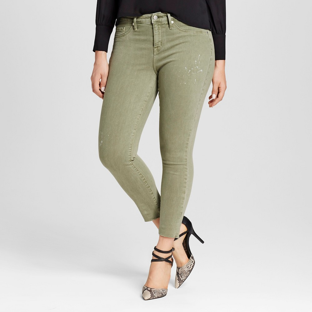 Womens Curvy Jegging Crop - Mossimo Olive 14R, Size: 14, Green