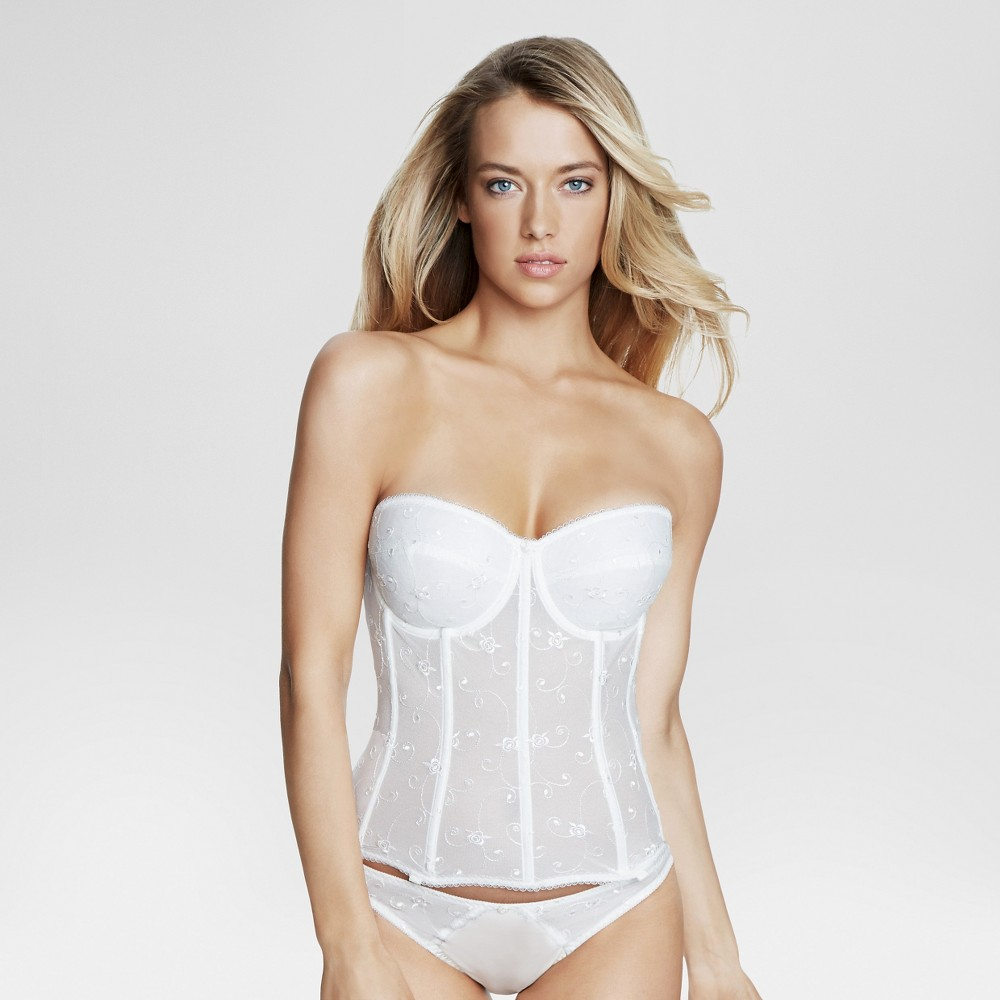 Dominique Womens Embroidered Corset Bridal Bra #8900 - Bone (Ivory) 44D
