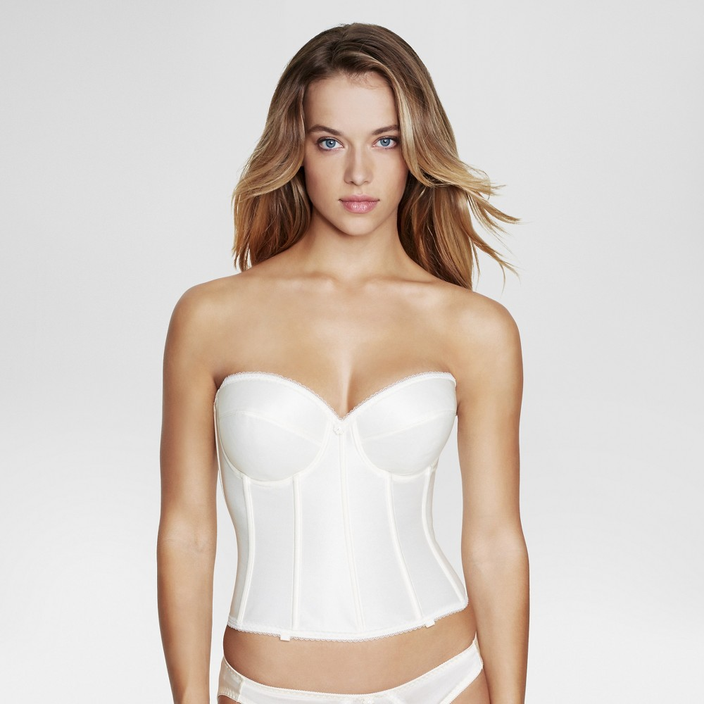 Dominique Satin Longline Bridal Bra #7750 - Ivory 32DD, Womens