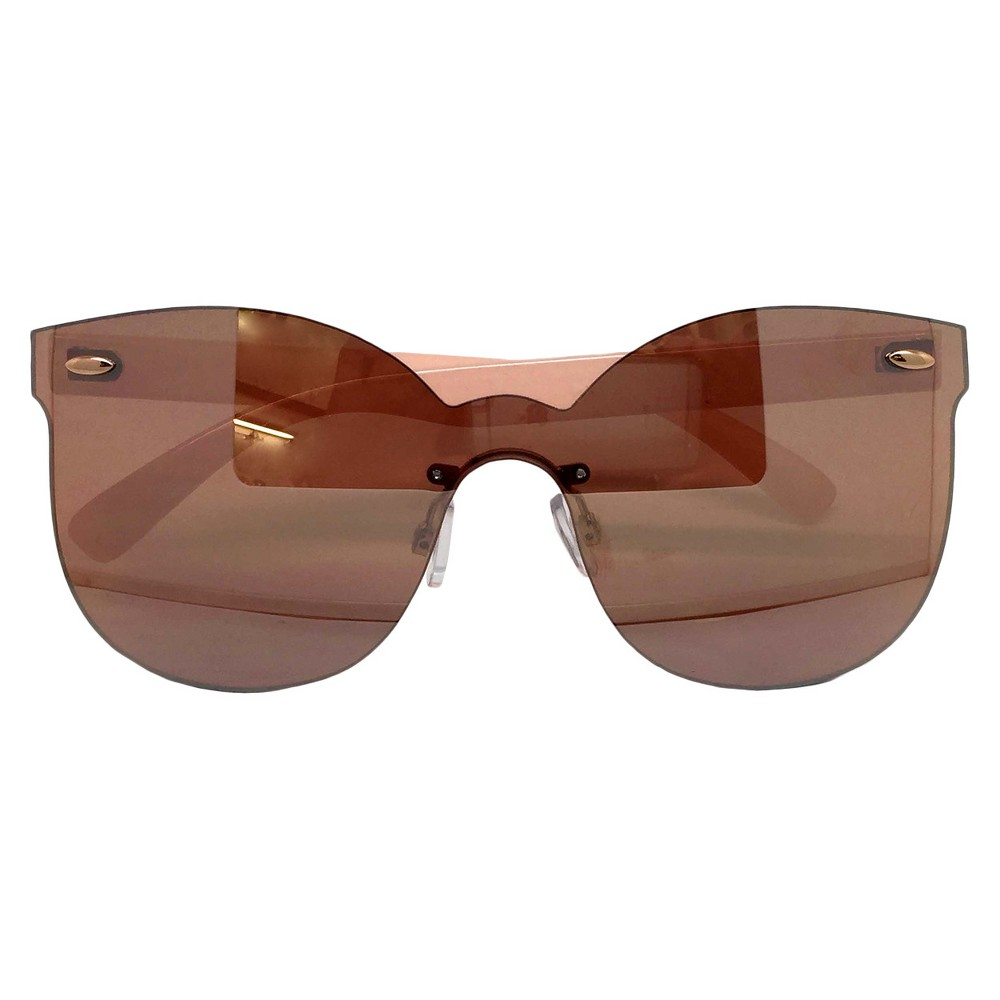 Womens Oversized Sunglasses - Pink/Rose Gold, Pink Rose
