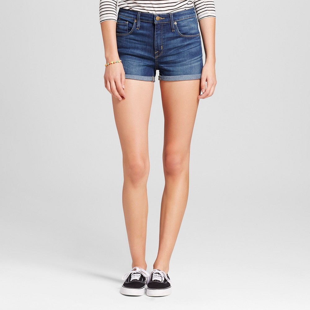 Womens High-rise Shorts - Mossimo Dark Wash 0, Blue