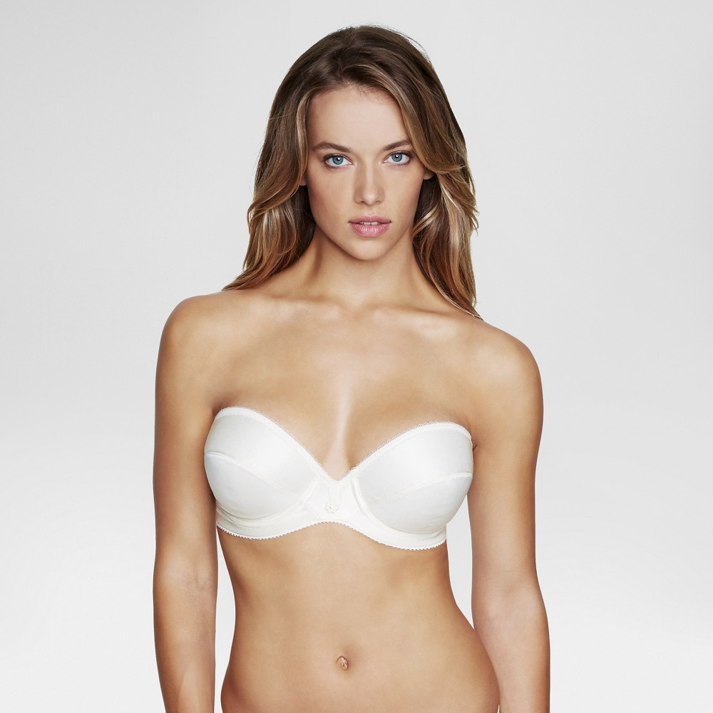 Dominique Low Plunge Strapless Bridal Bra #8103 - Ivory 34D, Womens