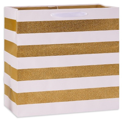 Gold and White Striped Gift Bag - Spritz™