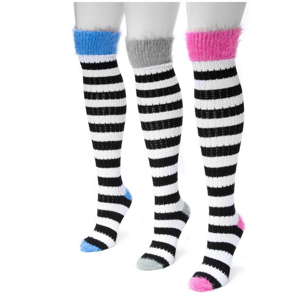 Muk Luks Womens 3 Pair Pack Pointelle Stripe Knee High Socks - Neutral One Size, Multi-Colored