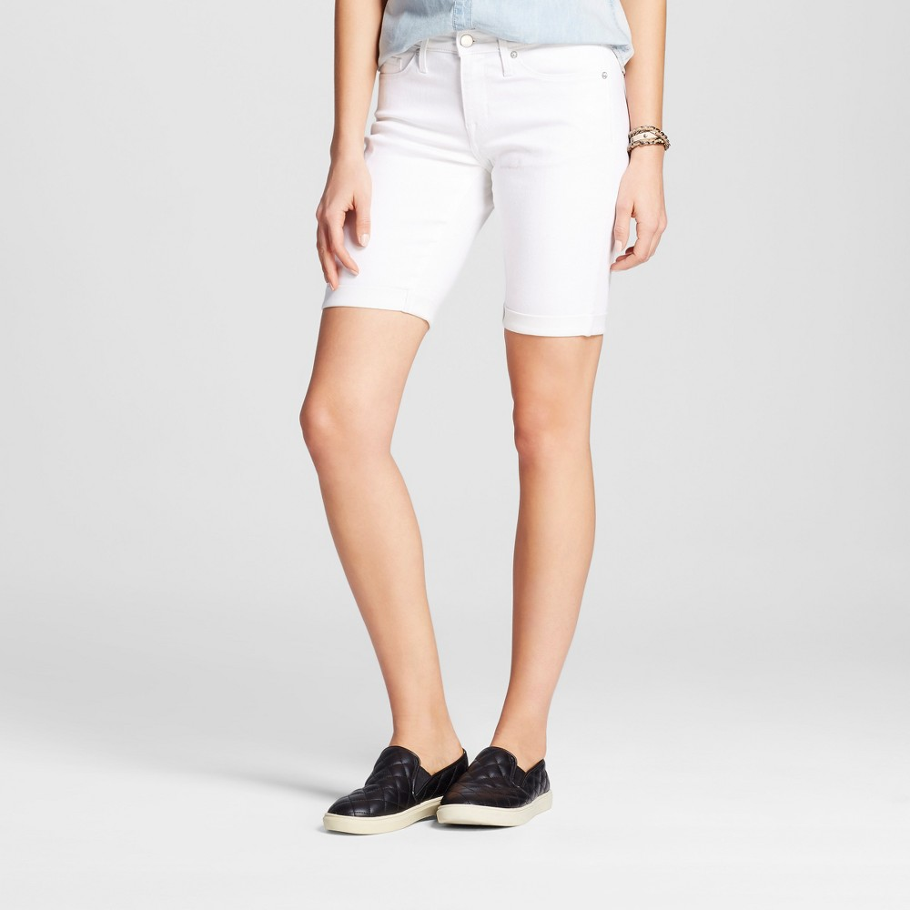 Womens Mid Rise Bermuda Shorts - Mossimo White Stain Resist 18