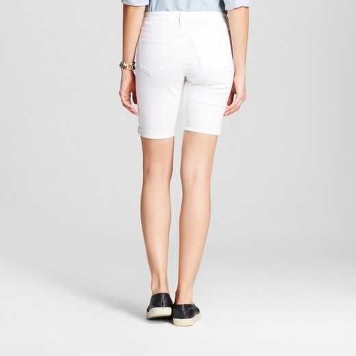 Women's Mid Rise Bermuda Shorts White Stain Resist - Mossimo™ : Target