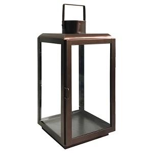 15 Outdoor Lantern Stainless Steel & Glass with Square Handle - Bronze - Smith & Hawken