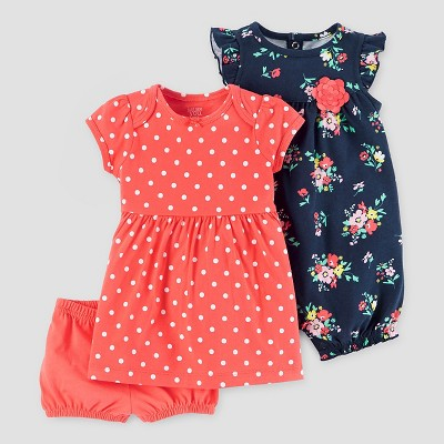 Baby Girls' 2pk Romper and Dress Set - Just One You™ Made by Carter's® Orange/Navy 9M