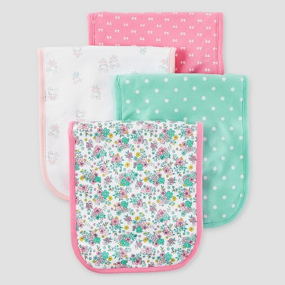 Baby Girls' 4pk Burp Cloth Set - Just One You™ Made by Carter's® Mint/Pink/White