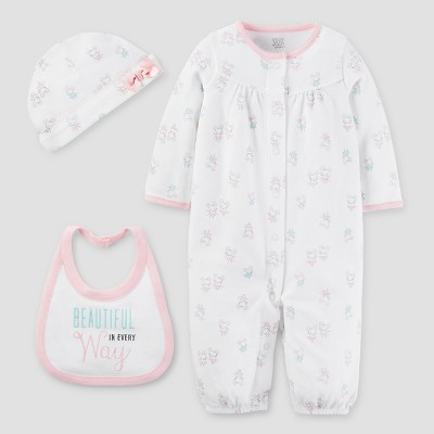 Baby Girls' 3pc Converter Gown Set - Just One You™ Made by Carter's® White/Light Pink 3M