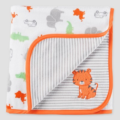 Baby Boys' Animals Velboa Blanket - Just One You™ Made by Carter's® Orange/Gray