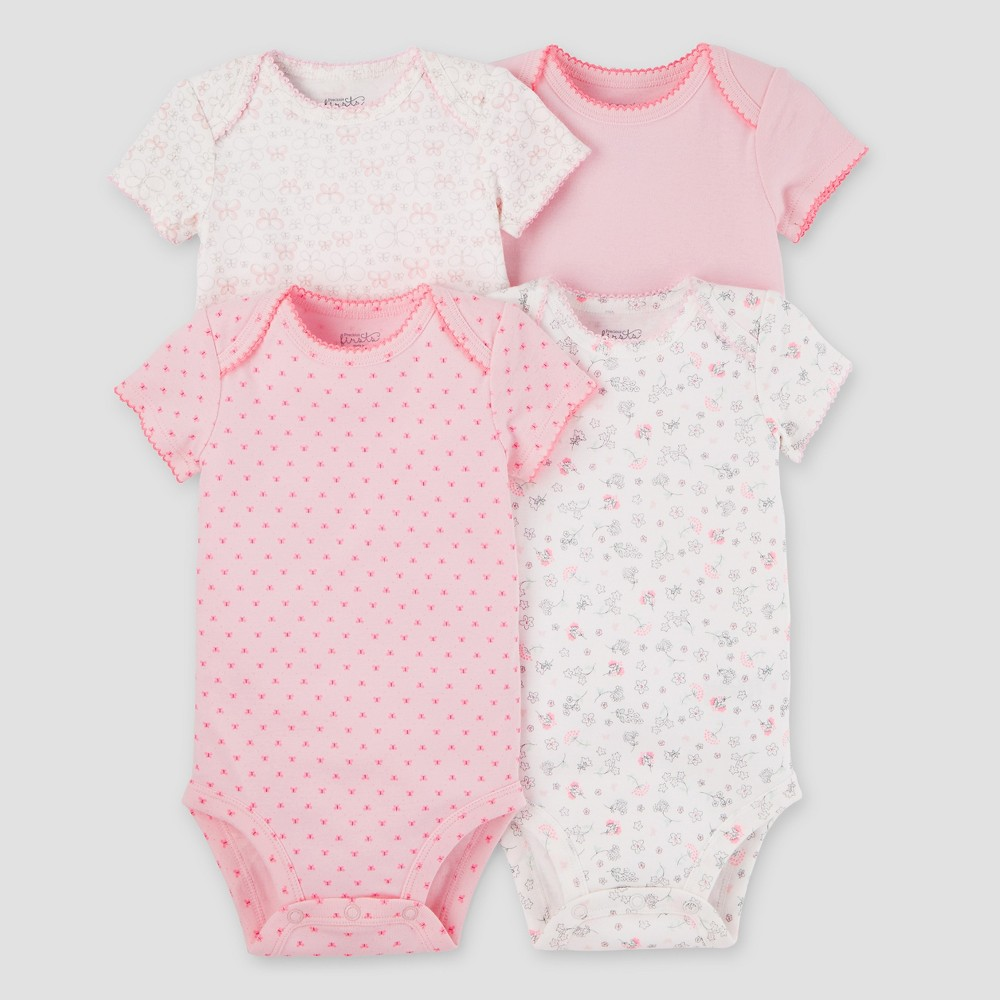 Baby Girls 4pk Bodysuits Pink 6M - Precious Firsts Made by Carters, Size: 6 M